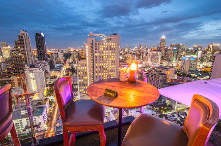 BANGKOK, THAILAND - June 3: View from the top of Above Eleven rooftop bar & restaurant on June 3, 2015 in Bangkok, Thailand. Above Eleven is a rooftop bar & restaurant on the 33 rd floor of the Fraser Suites Sukhumvit in Sukhumvit's pulsating Soi 11. Stock Photo - 43110474