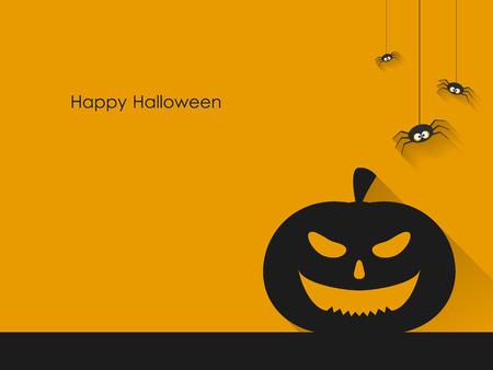 halloween scary: Scary Halloween Pumpkins and Spiders on yellow background.
