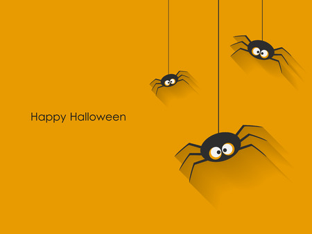 halloween scary: Scary Halloween Spiders on yellow background.