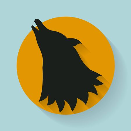 halloween scary: Halloween sticker, tag or label  with scary halloween silhouette wolf on blue background.