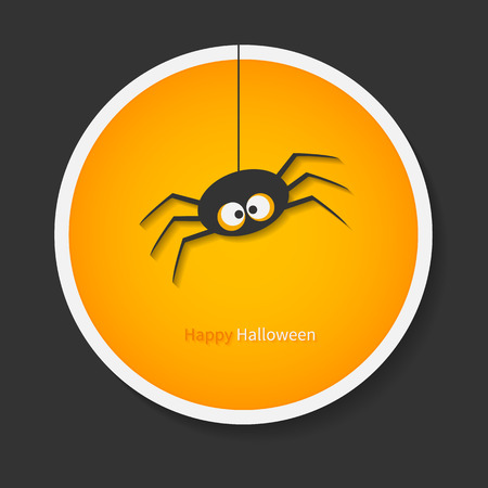 Spider for Halloween party background. For tags, labels or stickers