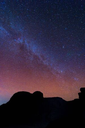 grand canyon: Milky Way Galaxy and Stars in Night Sky in mekong river (Sam Pan Bok grand canyon) ubon ratchathani province asia thai