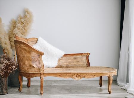 modern living room with brown armchair. scandinavian interior design furniture. 스톡 콘텐츠