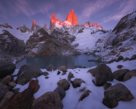 Monte Fitz Roy in the sunrise morning at Lago de los tres, Patagonia, Argentina. Stock Photo