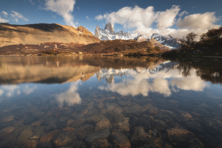 Monte Fitz Roy with a reflection in autumn seasons at Patagonia National park, Argentina