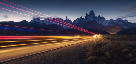 Long exposure of bus light, Road to Fitz Roy at Los Glacieres National Park, El Chalten, Patagonia, Argentina Stock Photo
