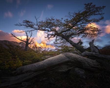 Monte Fitz Roy in the sunrise morning at Parque Nacional Los Glaciares, El Chalten, Argentina.