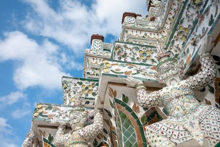 Deatail of the Pagoda at Wat Arun - the Temple of Dawn in Bangkok
