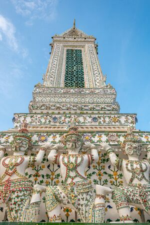 Deatail of the Pagoda at Wat Arun - the Temple of Dawn in Bangkok