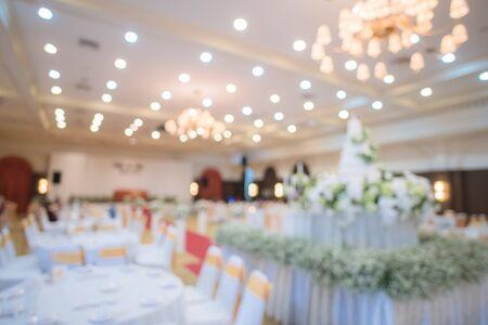 prepared gala dinner table in wedding ceremony