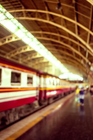 Abstract blurred railway and train station in Bangkok,Thailand. Retro color process