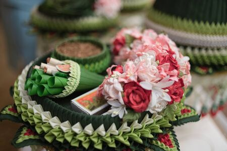 Set of groom engagement and wedding in Thailand, Traditional in Counting the dowry and ring in Thai wedding cultural by parent of bride and groom. Stock Photo
