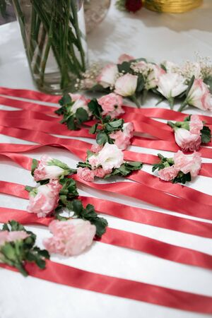 Rose decoration in wedding ceremony Stock Photo