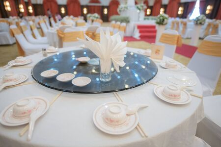 prepared gala dinner table in wedding ceremony