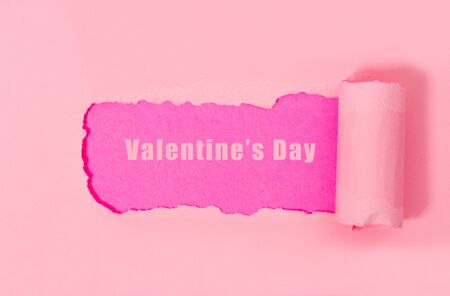 Top view of pink torn paper on pink background. Free space for text banner. Stockfoto