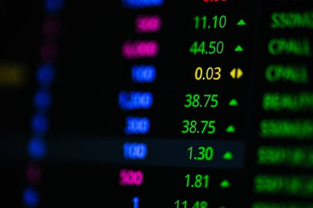 Stock market graph on screen. Ticker on monitor screen. Investing, Finance and Economic concept. Shallow depth of field.
