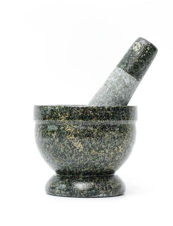 Granite mortar on a white background