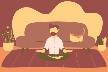 Illustrations flat design of a man sitting with his legs crossed on a floor and meditating with a cat on a sofa in living room. Concept of supporting developmental health and brain development, mindfulness practice, spiritual discipline at home. Illustration