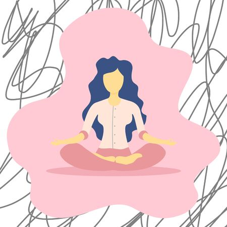 Illustrations flat design of a woman sitting with his legs crossed on a floor and meditating. Concept of supporting developmental health and brain development, mindfulness practice, spiritual discipline at home.