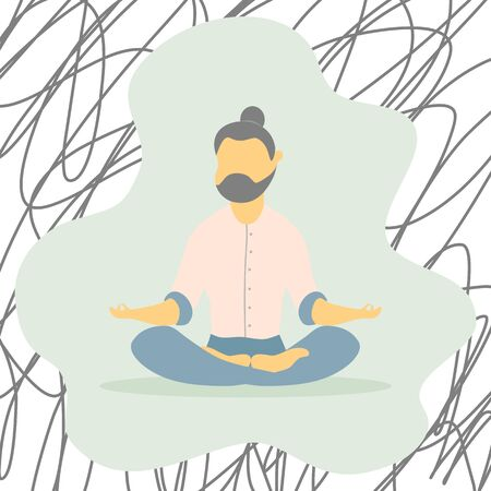 Illustrations flat design of a man sitting with his legs crossed on a floor and meditating. Concept of supporting developmental health and brain development, mindfulness practice, spiritual discipline at home.