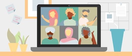 Illustrations flat design of video conference. Concept of multi-diversity people, workplace, laptop screen, group of people talking by internet. Stream, web chatting, online meeting friends. Coronavirus, quarantine isolation.