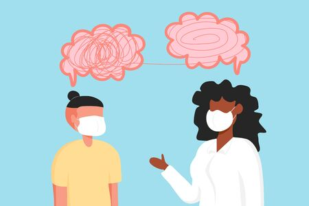 Illustrations design of psychotherapy counseling. Mental health concept. Psychologist woman and young man wear face mask and patient in therapy session. Treatment of stress, addictions and mental problems.