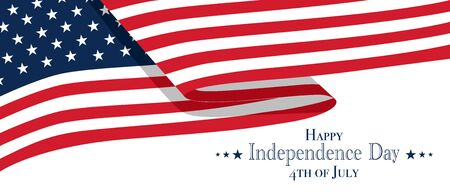Happy fourth of July United States Independence Day celebrate banner with waving american national flag and text design. Vector illustration.
