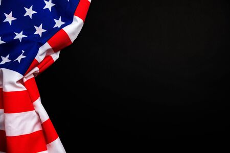 American flag on black background for Memorial Day, 4th of July, Labour Day