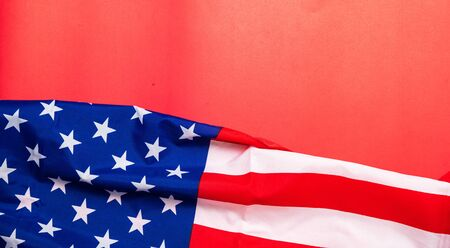 American flag on red background for Memorial Day, 4th of July, Labour Day