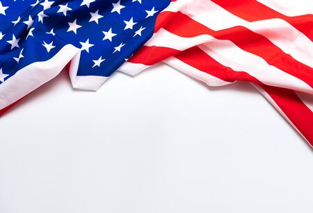 American flag on white background for Memorial Day, 4th of July, Labour Day