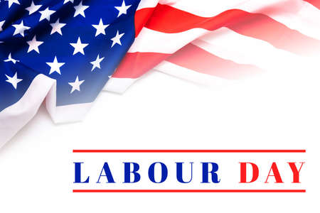 American flag on white background with Labour day text
