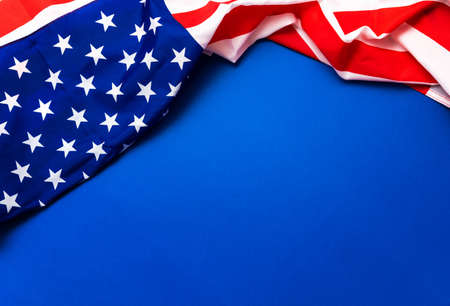 American flag on blue background for Memorial Day, 4th of July, Labour Day