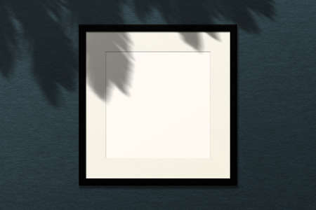 Minimal empty square white frame picture mock up hanging on wall background with leaves window. Stock Photo