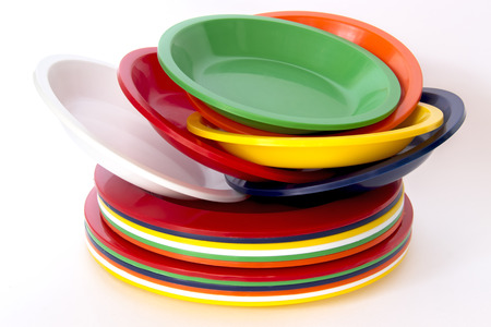 Stacked colorful plastic plates isolated on white background Stock Photo - 35278415  sc 1 st  123RF.com & Stacked Colorful Plastic Plates Isolated On White Background Stock ...