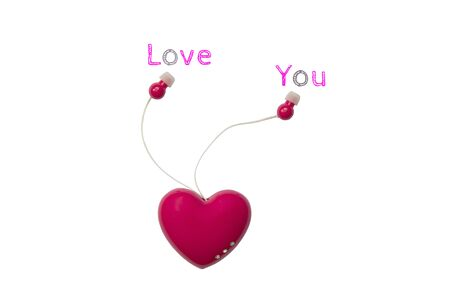 ear bud: Valentines day love concept with sweet ear plug : telling love and sharing together