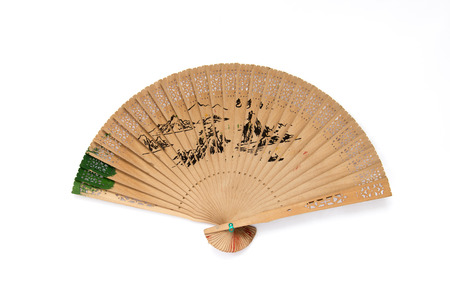 perforate: Painted on Chinese sandalwood perforate fan