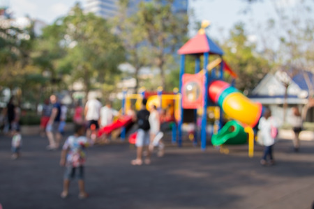 school playground: Defocused and blurred image for background of children Stock Photo