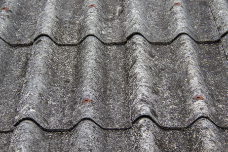 moldy: Moss stained cover roof tiles Stock Photo