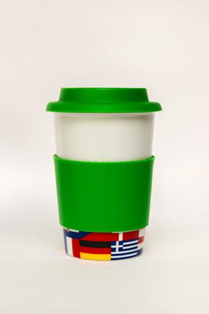 silicio: Copa con el caso de caucho de silicona verde Foto de archivo