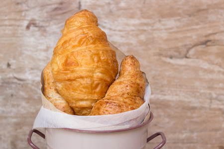 lubricate: Fresh croissants in vintage basket