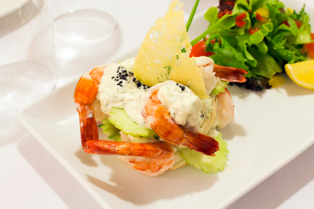 whitefish: Toast Skagen ; prawns with creamy whitefish roe dressing served with toasted bread Stock Photo