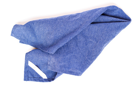Soft fluffy blue hand towel isolated on white background