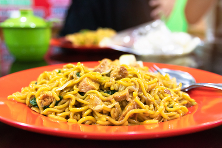 Indonesian stir-fried noodles (Bakmi Goreng) with chicken or seafood, a street-food noodle classic from Java island.