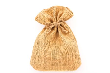 Burlap sack bag the bow tied isolated on white background