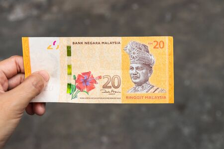 Twenty Ringgit Malaysia bank note on hand isolated on grey background. Stock fotó