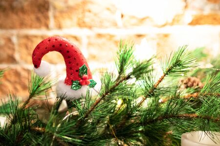 Christmas decorations on a blurred background. Happy New Year and Xmas theme