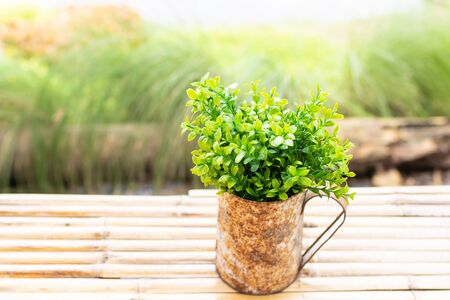 Bouquet of bush in old aged vase on bamboo table in garden with natural soft light. 스톡 콘텐츠