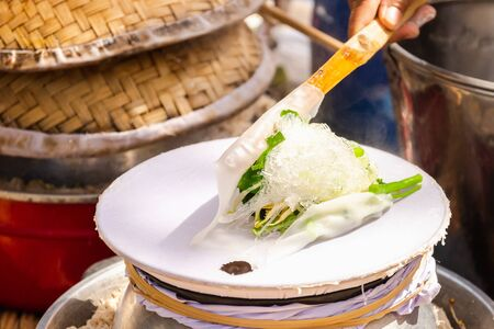 KHAO PURP Thai local noodle at Ban Na Ton Chan village, Sukhothai province in Thailand 스톡 콘텐츠