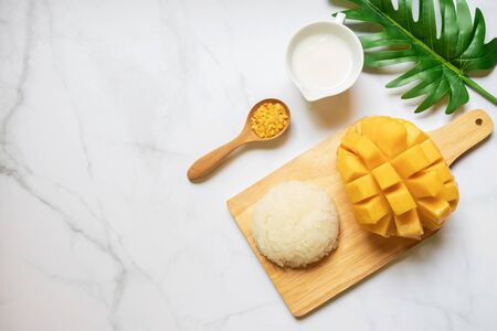 Thai sweet sticky rice with mango. Thai style tropical dessert, glutinous rice eat with mango. Copy space for text.