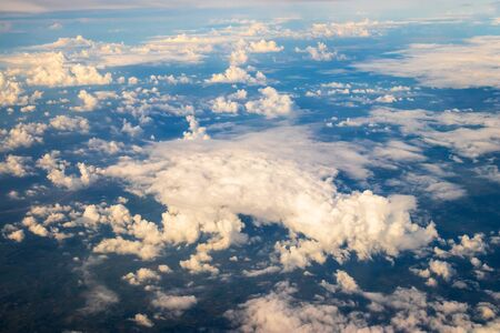 Beautiful view seen from the plane. Cloud formations.